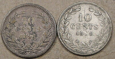 Netherlands Ten Cents 1896+98(Scratches at Date) Low-Midgrade As Pictured