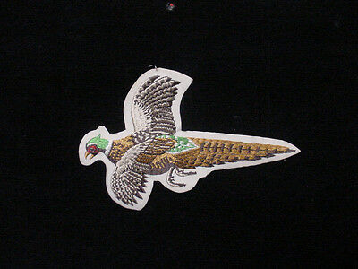 """2 Vintage Large Pheasant Patch - Embroidered -Iron On  8""""long - 1980's"""