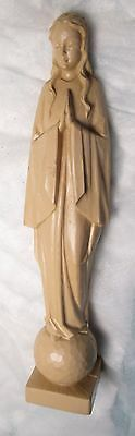 Virgin Mary Madonna Statue Figure Standing On The Earth World vintage church