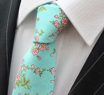 Tie Neck tie Slim Blue with Pink & Green Floral Quality Cotton T6178