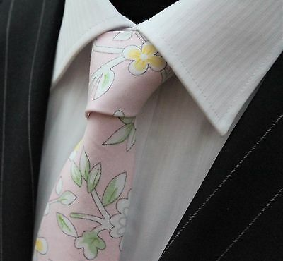 Tie Neck tie Slim Pink with Yellow White Green Floral Quality Cotton T6191