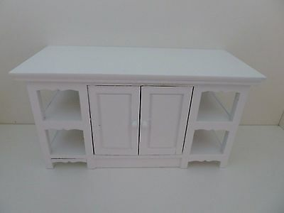 Dolls House Miniature 1:12th Scale Kitchen White Island Opening Doors (T5428)