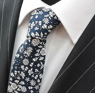 Tie Neck tie Slim Navy Blue with White Floral Quality Cotton T6146