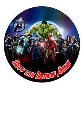 """THE AVENGERS MARVEL SUPERHEROS Personalized Cake Topper Icing Sugar Paper 7.5"""" 1"""