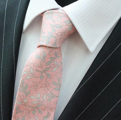 Tie Neck tie Slim Pink with Grey Floral Quality Cotton T6184