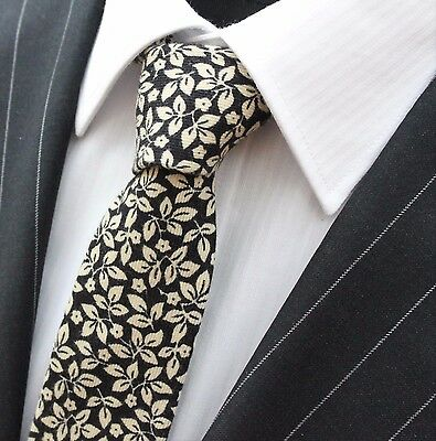 Tie Neck tie Slim Black with Off White Leaves Quality Cotton T6105