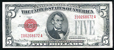 Fr. 1531 1928-F $5 Red Seal Legal Tender United States Note About Unc (B)