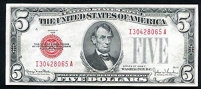 Fr. 1531 1928-F $5 Red Seal Legal Tender United States Note About Unc (E)