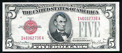 Fr. 1531 1928-F $5 Red Seal Legal Tender United States Note About Unc (J)