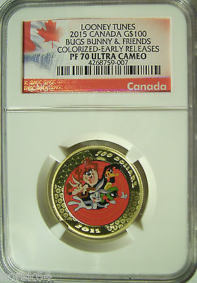 2015 Canada $100 Looney Tunes Bugs Bunny & Friends 1/2 Oz Gold  NGC PF70 UC ER