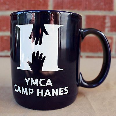 YMCA Camp Hanes Coffee Mug Tea Cup Hot Chocolate Blue Hands