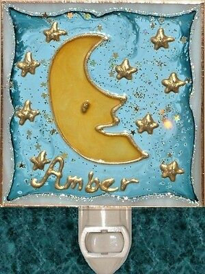 Personalized Moon Star Night Light Stained Glass Plug In Wall Nursery Baby Decor