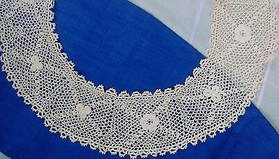 Antique Round Collar Thin Crochet Lace Hand Irish Feminine Pattern Ivory Cotton