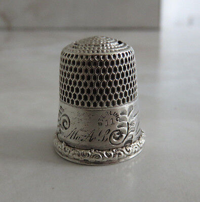 Antique Simons Sterling Silver Thimble Sz. 11 House Band Initials Mal