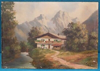 Vintage Landscape Painting Signed W Ludeke Mchn Germany No Frame