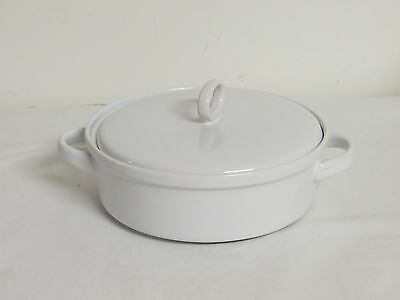 """Palm Restaurant White 7"""" Covered Baking Dish with Handles and Lid"""