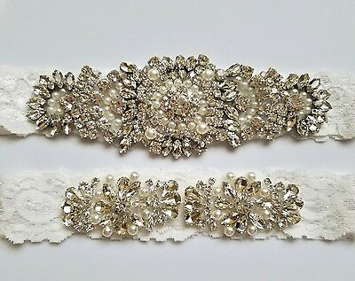 Wedding Bridal Garter Set - Crystal Pearl OFF WHITE Lace Wedding Garter Set
