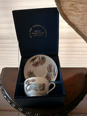 Royal Worcester Jumbo Cup & Saucer w/Hunting Scenes To A Very Important Person