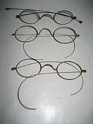 Lot of 3 - 19th Century Silver & Gold Colored Wire Rimmed Eyeglasses/Spectacles