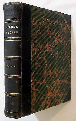 Antique 1882 THE MEDICAL RECORD Victorian Medicine Surgery & Surgical Tools Book