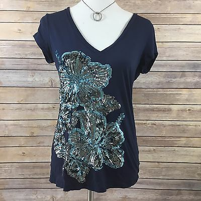Express Womens Blue Silver Sequin Floral Short Sleeve V Neck T Shirt Top Size M