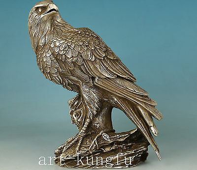 Chinese Copper plating silver casting Tercel Eagle Statue Figure