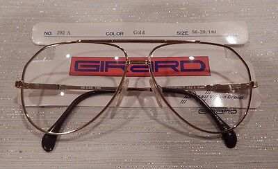 Vintage Girard 392 Gold 56 Eye Aviator Metal Eyeglass Frame New/Old Stock