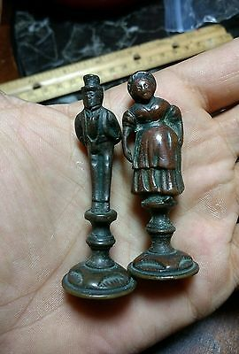 "2 Vintage Bronze Or Brass Small Figurines Of People, 2.5"" Inches Tall!!"