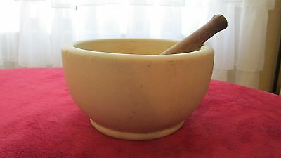 Large antique bisque mortar and pestle