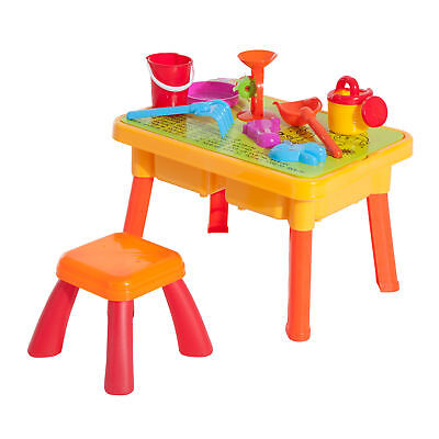 HomCom Sand and Water Table Chair Set with Beach Play Set for Kids Children Toys