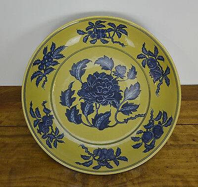 Superb Chinese Blue Flower Over Yellow Glazed Ground Porcelain Charger Plate