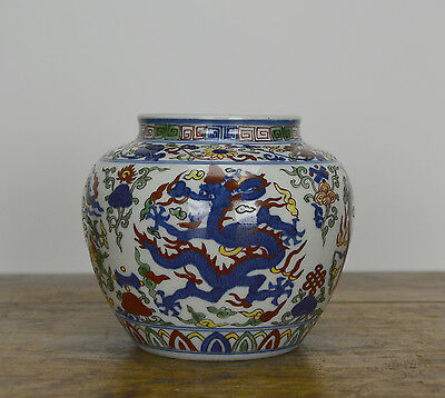 A Fine Small Chinese Marked Wucai Dragon Porcelain Pot
