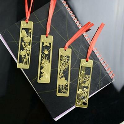 Chinese Style Metal Bookmarks 1 Pcs Golden Hollow Mini Creative B