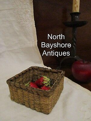 Antique 1800s New England Shaker Miniature Woven Ash - Sweetgrass Berry Basket