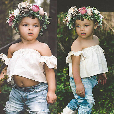 US Newborn Baby Girls Flutter Off Shoulder Tops Holes Denim Pants Outfit Clothes