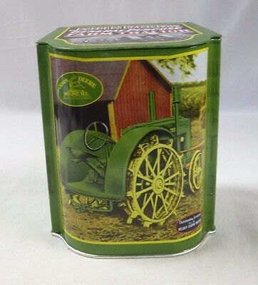 John Deere General-Purpose Farm Tractor Storage Tin Box w/Hinged Lid