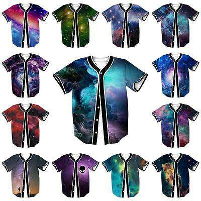 Galaxy Space Nebula 3D Men Baseball Tee Jersey Button Sport Short Sleeve T Shirt