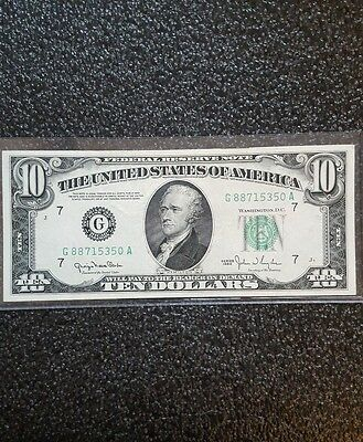 1950 series  G/A (CHICAGO) $10 Dollar Federal Reserve Note Bill US Currency AU
