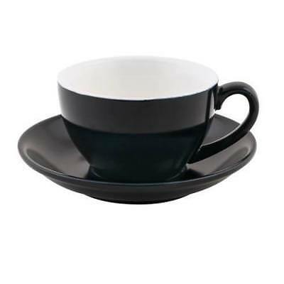 6x Large Cappuccino Cup & Saucer Set Black 280mL Bevande Coffee Cups