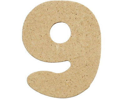 SALE - 10 Small 40mm Wooden MDF Numbers - 9 | Wood Shapes for Crafts