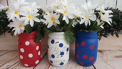 Distressed Painted Pint Mason Jars Vintage Style Red, White, & Blue, 4th of July