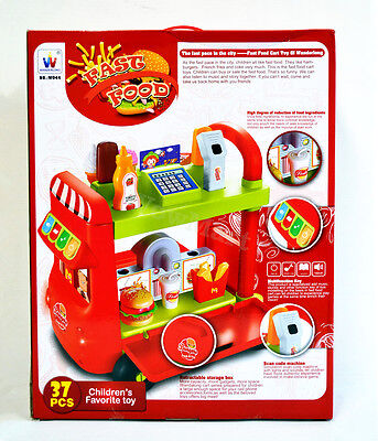 New Gift Kid Pretend Toy Shopping Cart Fast Food Bus 37pcs #W044 & Light Sound