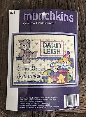 """Munchkins Counted Cross Stitch Kit - Kids'/Baby Announcement """"JACK IN THE BOX"""""""
