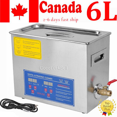 NEW Stainless Steel 6L Industry Heated Ultrasonic Cleaner Heater with Timer CAN