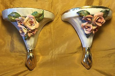 "Vtg Pair 8.75"" Porcelain Pottery Wall Sconce Shelf w Applied Rose Flowers + Gold"