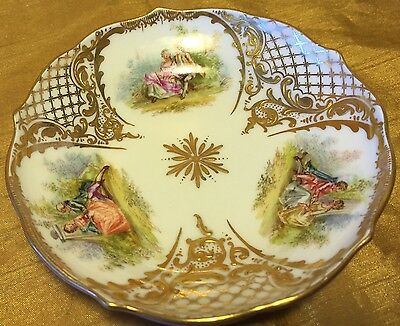 Antique Meissen Pin Dish/Tray w 3 All Hand Painted Courting Scenes & Raised Gold