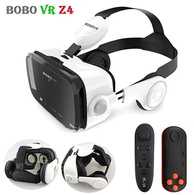 2017 VR Headset Leather Virtual Reality VR Glasses Bluetooth Remote Gamepad