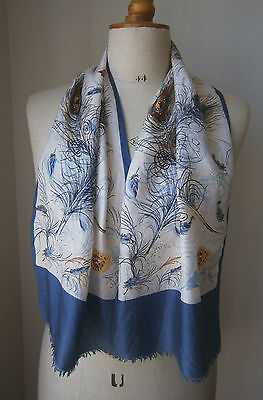 Vintage 1970's Long Silk Scarf Blue Gold & White Peacock Feather Print