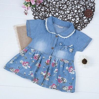 Cute Infant Baby Girls Denim Floral Dress Bowknot Sundress Clothes Skirt Outfits