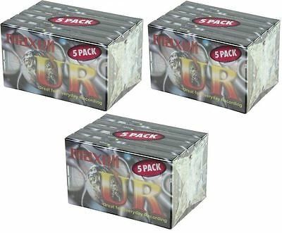 NEW Maxell UR90 90 Minutes Blank Audio Media Recording Cassette Tapes - 15 Pack